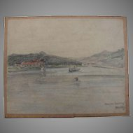1930's Original Pencil & Pastel Drawing of the Lake Baldeney in Essen Germany by Franz Brantzky