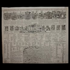 18th Century Chart of constitutional division of the Holy Roman Empire of the German Nation circa 1707 by Petrus (Pieter) Schenk