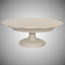 19th Century Large Meissen Porcelain Vine Relief Compote / Cake Dish with Gilt