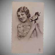 1920's Postcard from Paris France of a beautiful Lady - real photo