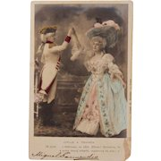 1920's Postcard from Paris France of a couple in Victorian Clothes- colored real photo