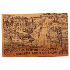 1970's Wood Postcard of Grand Canyon Helicopters / Souvenir from Arizona
