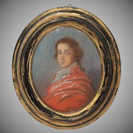 19th Century Painting of Young Man from Germany Biedermeier circa 1835 in Crayon