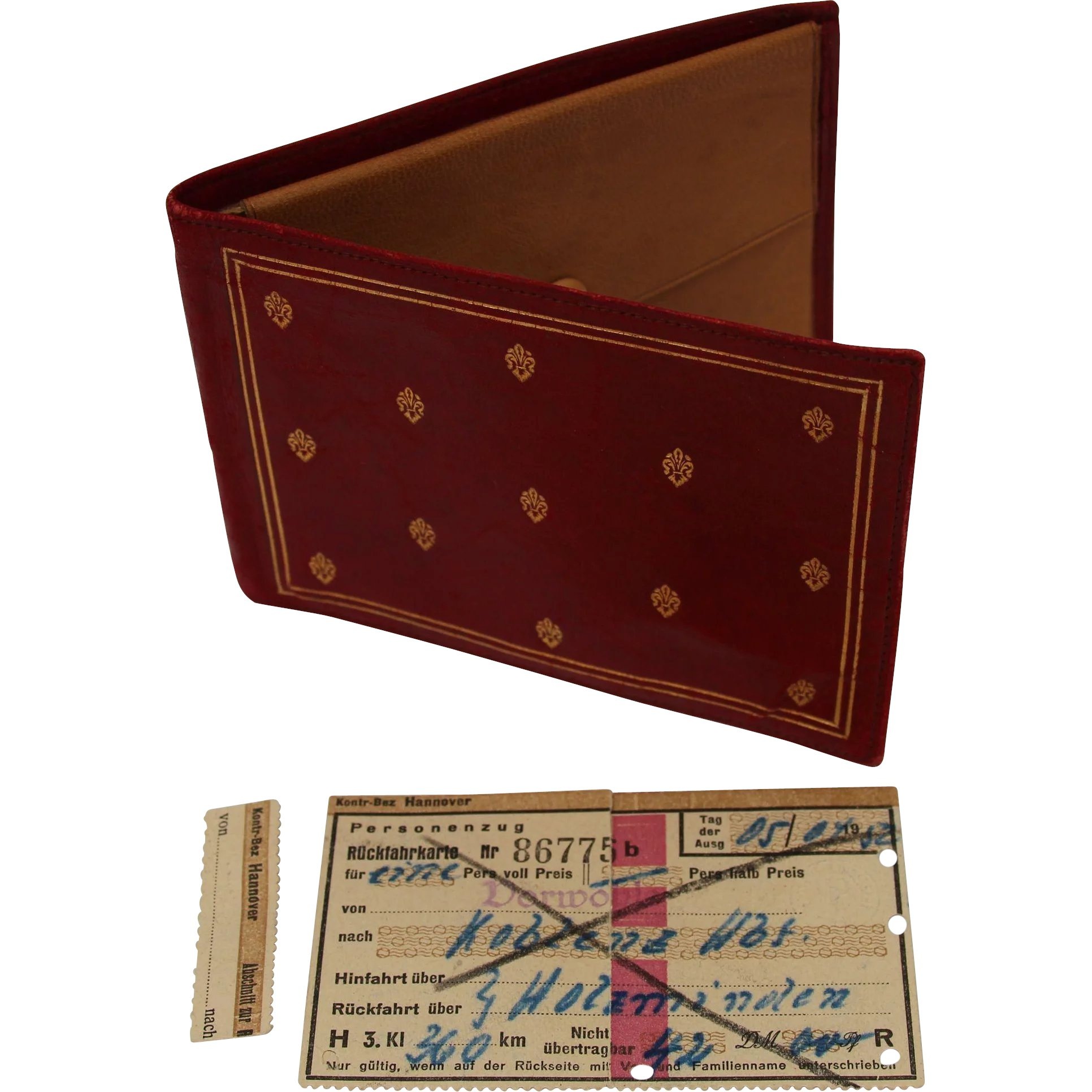 93860edd4e321 Vine 1950s Red Leather Wallet With Original Owners Train Ticket