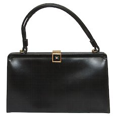 Vintage 1950s Black Leather Hand Bag by Etra