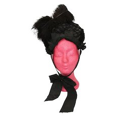 Victorian Antique Black Silk Velvet and Feathers Bonnet - Hat