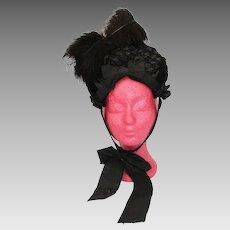 Victorian Antique Black Silk Velvet and Feathers Bonnet - Hat