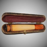 Victorian Cigar Holder Meerschaum & Butterscotch Amber & Wood in original Case