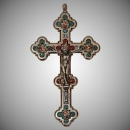 19th Century Stunning Micro Mosaic Crucifix Cross - Souvenir from Rome