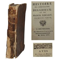 18th Century French Book - historie du chevalier des grieux et de manon lescaut by Abbé Prévost 1756