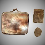 Victorian Change Purse Mother of Pearl Souvenir Heligoland with original Photos