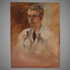 Oil Painting Study of a Young Doctor by Arno Hartwig from Breslau (circa 1940)