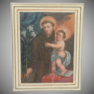 19th Century Oil Painting of St Anthony of Padua and Jesus Christ