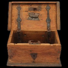 18th Century Authentic Church Treasure Chest / Offering Box - Rustic Wood and wrought iron fittings