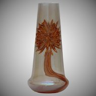 1900's Art Nouveau Kralik Vase with applied stylized flower - Bohemian Iridescent Glass
