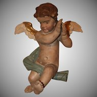 17th Century Putti / Angel / Cherub Baroque Statue from Northern Europe - Polychrome Wood Carved