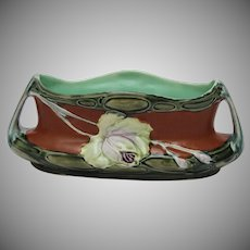 Art Nouveau Majolica Planter / Vase / Candy Dish with Rose - Polychrome Pottery 1900's from Alpine Europe