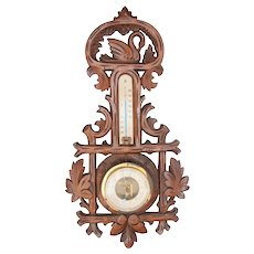 Art Nouveau Swan Themed Black Forest Barometer / Thermometer / Weather Station