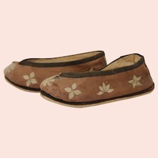 Antique Silk & Embroided Chinese Bound Shoe Slippers