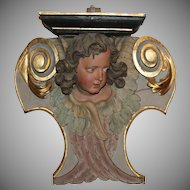 17th Century Large Putto / Angel / Cherub Baroque Console Statue from Westphalia Germany - Polychrome Wood Carved