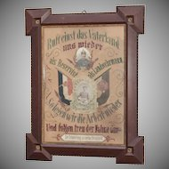 19th Century German Paper Punch & Embroidery German Army Commemorative of a Reservist