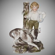 "19th Century Probstzella Hutschenreuter Germany Porcelain Figurine ""Boy with Dog"""