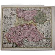 17th Century Antique map of Upper Austria including Salzburg, Passau, Linz and more - by Visscher N. (1685)