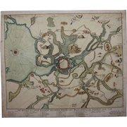 18th Century Scarce Map / Sea Chart of Wismar during the Siege of 1715/16 (van Keulen)