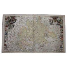 18th Century Map of Wuerttemberg Germany by JOHANN BAPTIST HOMANN 1710