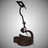 """19th Century Coal Miners Oil Lamp Frog """"Glück auf"""" from Germany"""