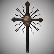 18th Century Large Baroque Wrought Iron & Bronze Cross
