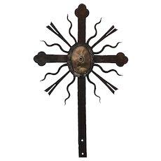18th Century Large Baroque Wrought Iron & Bronze Cross
