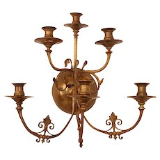 18th Century Rococo Bronze & Gilt Sconce / Baroque Wall Candelabra Wall with Gilt