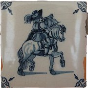 17th Century Delft Tile - Equestrian in Uniform - Horseman with Horn - Dutch Blue & White Tile