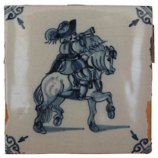 17th Century Delft Tile - 	Equestrian in Uniform - Horseman with Horn - Dutch Blue & White Tile