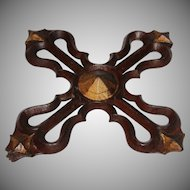 Original 19th Century Gothic Revival Wood Carved Cross Ornament