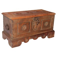 19th Century Hand Carved German Glove or Jewelry Box in Baroque Design, Signed WS