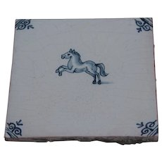 18th Century Delft Tile - Rearing Horse - Dutch Blue & White Tile