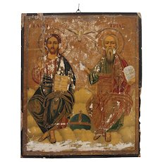 "18th Century Greek-Orthodox Icon depicting ""Trinity"" Father, Son & Holy Spirit"