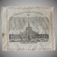 Souvenir from the 1873 World Fair in Vienna - Steel Engraving on Linen