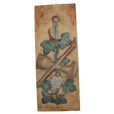 19th Century Carved Wood Panel - Wine and Torch