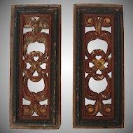 19th Century Set of 2 Carved Wood Window Panels - Baroque Design