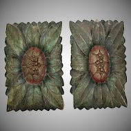 19th Century Set of 2 Floral Carved Wood Panels