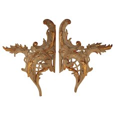 Exceptional Set of 2 18th Century Rococo Wood Carved Gilt Ornaments