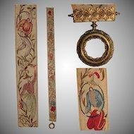 19th Century Royal Biedermeier Bell Pull / Asian Needlepoint Silk and Gilded Bronze
