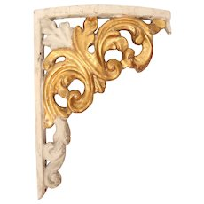 Original 18th Century Late Baroque / Rococo Wood Carved Gilt Corner Ornament