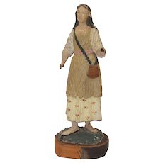 18th Century Baroque Statue of a woman - Polychrome carved wood