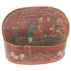 18th Century Large Hat Box / Bonnet Box from Germany / Wood / Hand Painted