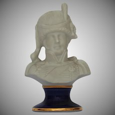 Beautiful Biscuit Porcelain Bust Of a Military Officer on Cobalt Pedestal