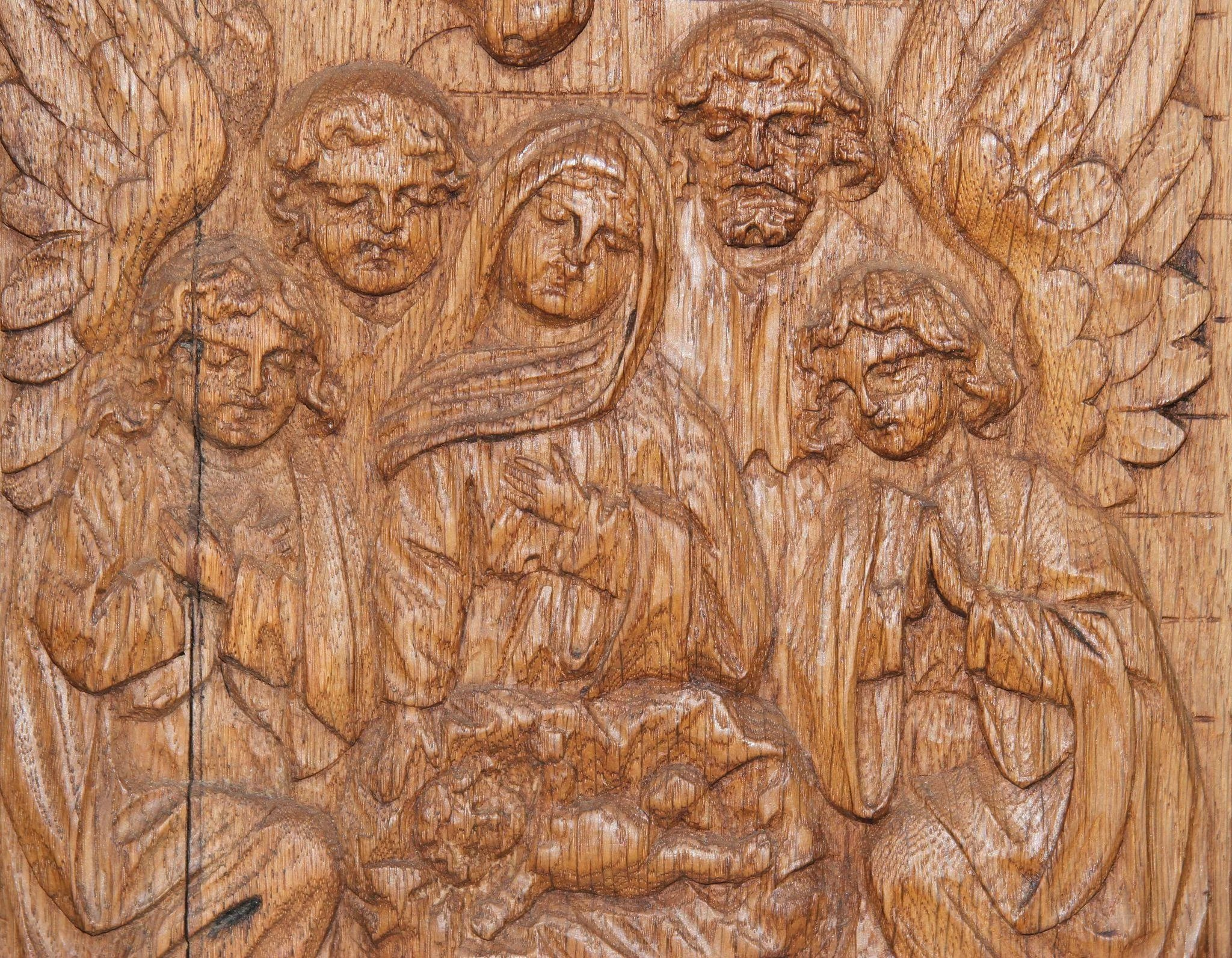 Th century nativity scene wood carved depiction of the